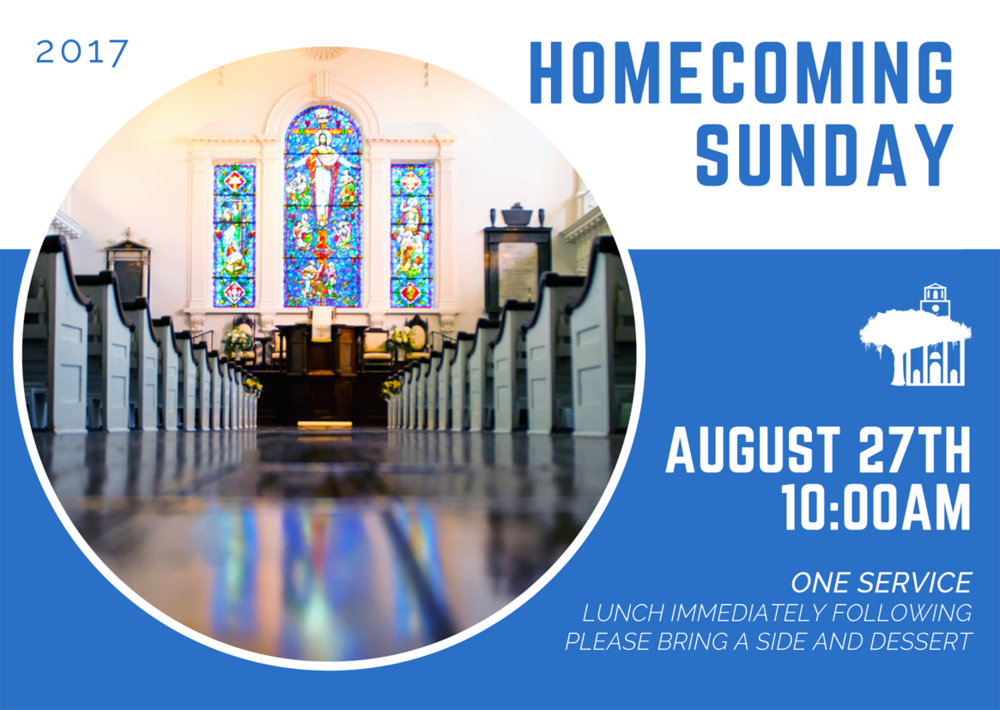 We will have one service at 10am on August 27th for Homecoming Sunday. Lunch to follow; please bring a side and dessert to share. Sign up here to bring a dish or help.