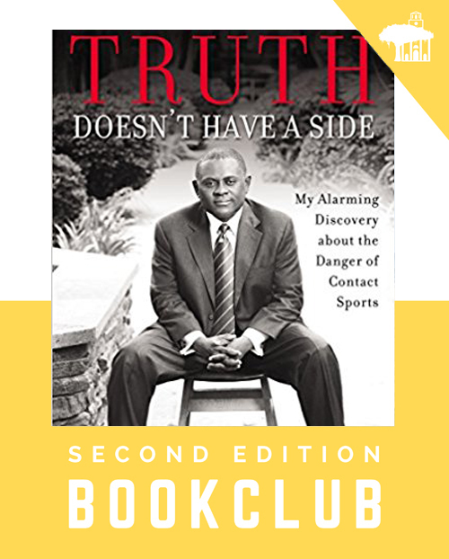 This month's book is Truth Doesn't Have a Side by Dr. Bennet Omalu about the story of his fight against the odds. He grew up in Nigeria amid the civil strife there as a member of the Igbo minority. Nevertheless, he was able to obtain an education and eventually moved to the USA where he was a Neuropathologist. He made the original connection between multiple concussive injuries and the later development of Chronic Traumatic Encephalopathy, the condition that affects so many sports figures and military veterans. Sharon Hoffman will host September 19th at 6:30 at her new address: 1021 Bowman Woods Dr, Mt Pleasant (843-906-2932).