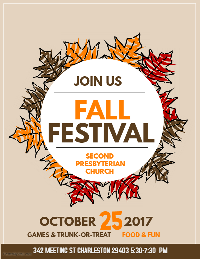 Join us October 25th from 5:30-7:30pm for food and fun at our Fall Festival. There will be a (peanut-free) Trunk-or-Treat in the back parking lot, games in the Fellowship Hall and on the playground, and a cake walk. All are welcome. Don't miss out on the fun!