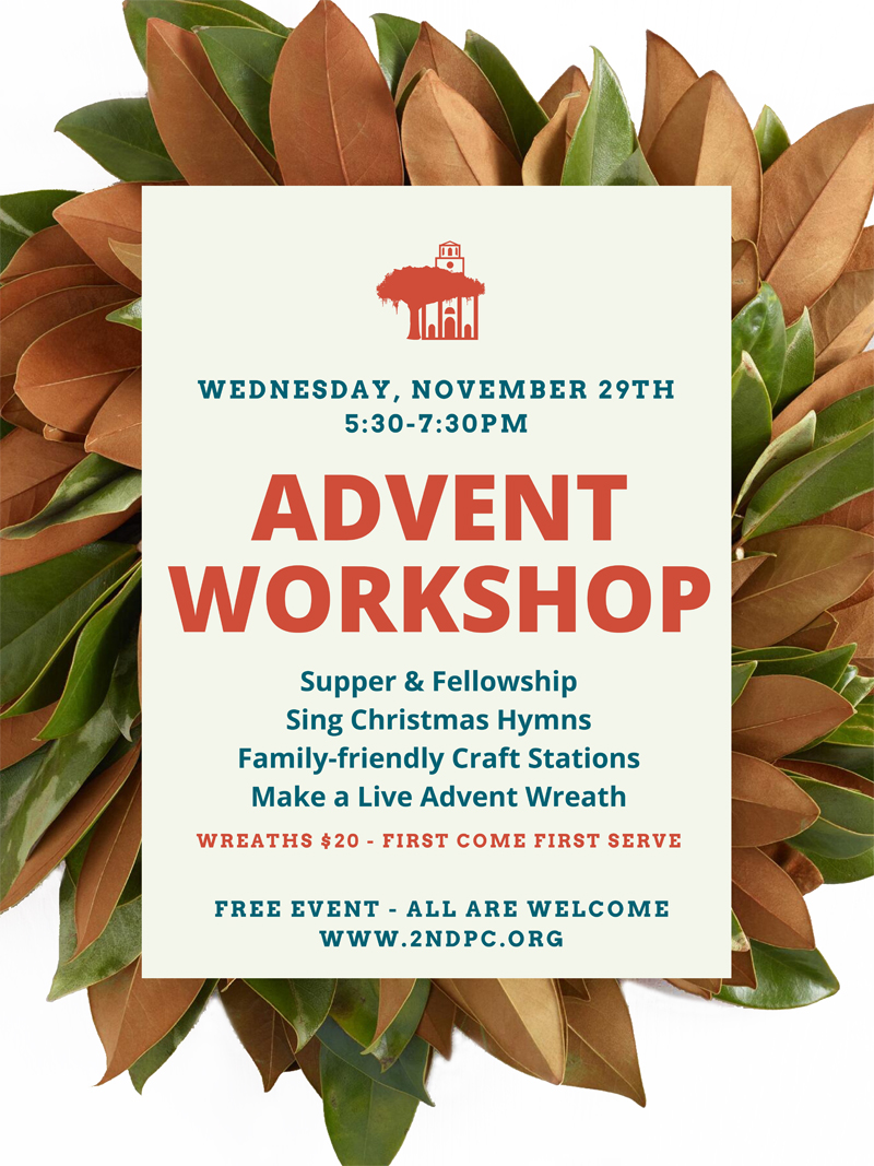 """On Wednesday, November 29th dinner will be from 5:30-6:30 in the Fellowship Hall and then we will gather in the chapel to sing Christmas hymns. Following that we will move into different stations of Advent related crafts. Sue Henderson will be leading the making of the """"live"""" Advent wreaths in the Fellowship Hall; cost for that is $20 on a first come, first served basis. Upstairs in the education building will be different stations for children and families to make crafts. This will be a wonderful night with our church family as we prepare ourselves for the coming of Christ the King, born in a manger."""
