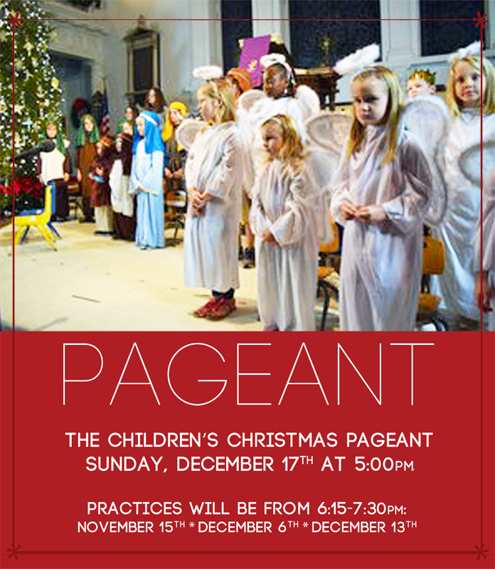 The children's Christmas Pageant will be Sunday, December 17th at 5pm. Following the pageant a meal will be served in the Fellowship Hall. All are invited to join us as we celebrate the birth of Christ. Practices will be on Wednesday November 15th and December 6th & 13th from 6:15-7:30. If any children are interested in participating that do not normally attend Wednesday night programming please email Liv (olivia.cappelmann@2ndpc.org).