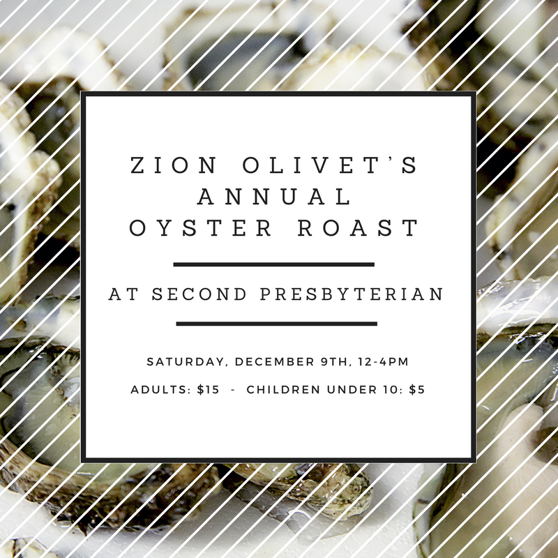 Zion Olivet's Annual Oyster Roast in our park is tomorrow, December 9th from noon to 4pm. $15 for adults and $5 for children under 10.