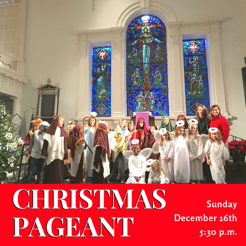 THE CHRISTMAS PAGEANT  is Sunday, December 16th at 5:30 p.m.  The children will lead us in a pageant performance with congregational hymns woven throughout.   A meal will be served in the Fellowship Hall immediately following the Pageant.  Everyone is invited and all are welcome to join us as we celebrate the birth of Christ.   We only have three rehearsals so please make every effort to bring your child to each on time! We will rehearse after Wednesday Night Suppers from 6:15-7:30 p.m. on November 14th, December 5th & December 12th.