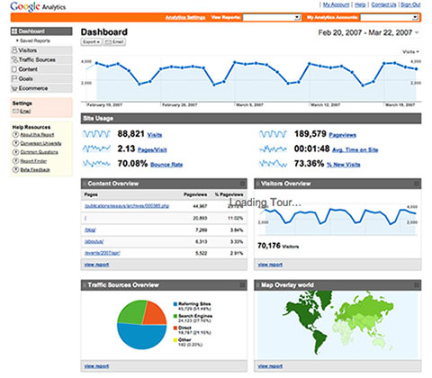 google analytics screen shot