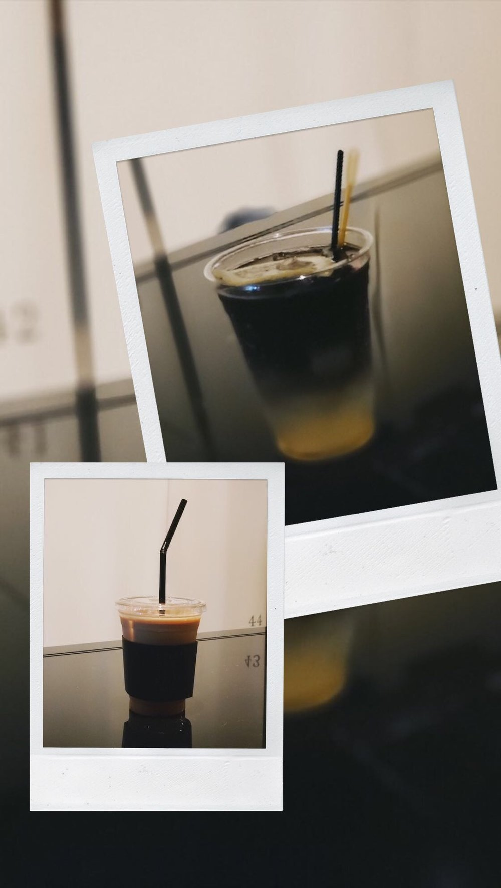 I got an iced latte per usual and Jill got a black lemonade. All of their tea drinks were literally black and looked so cool.