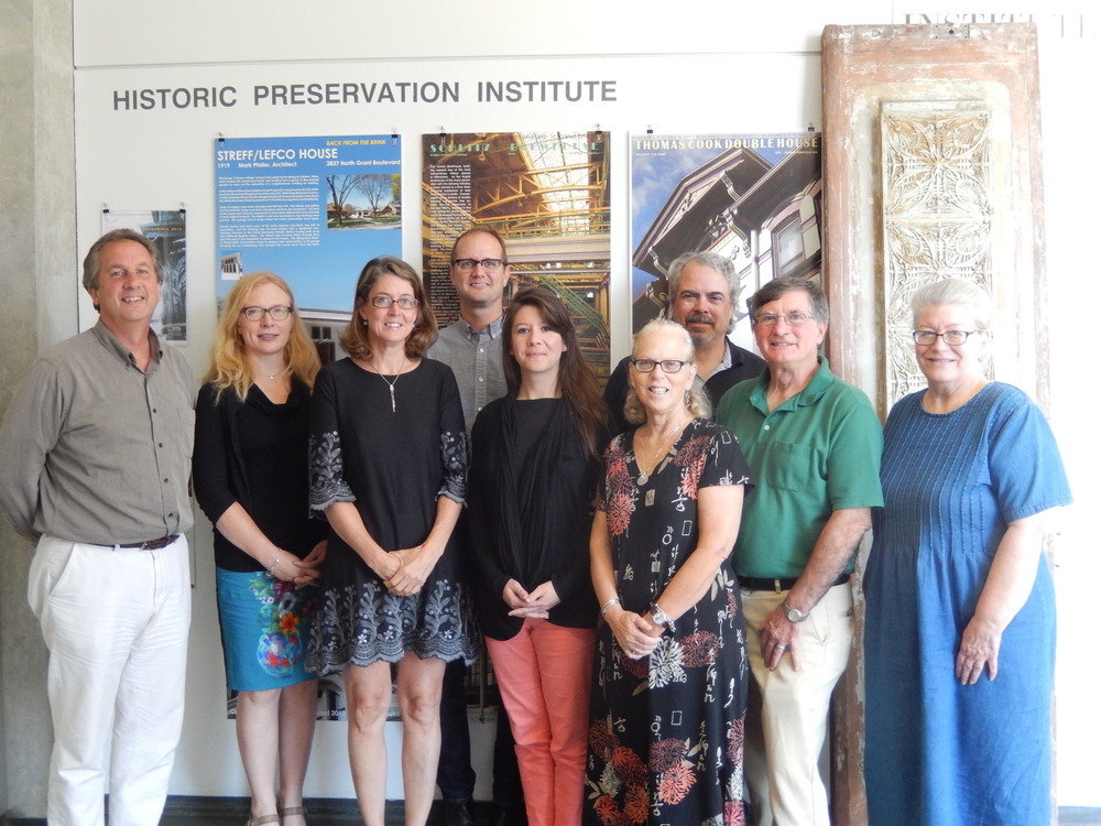 WTHP Board of Directors meeting with staff from the Michigan Historic Preservation Network.   L-R - Matt Jarosz, Sarah Zaske, Annemarie Sawkins, Jason Tish, Anna-Marie Opgenorth, Nancy Finegood, Mark Ernst, Gene Hackbarth, Janet Kreger.