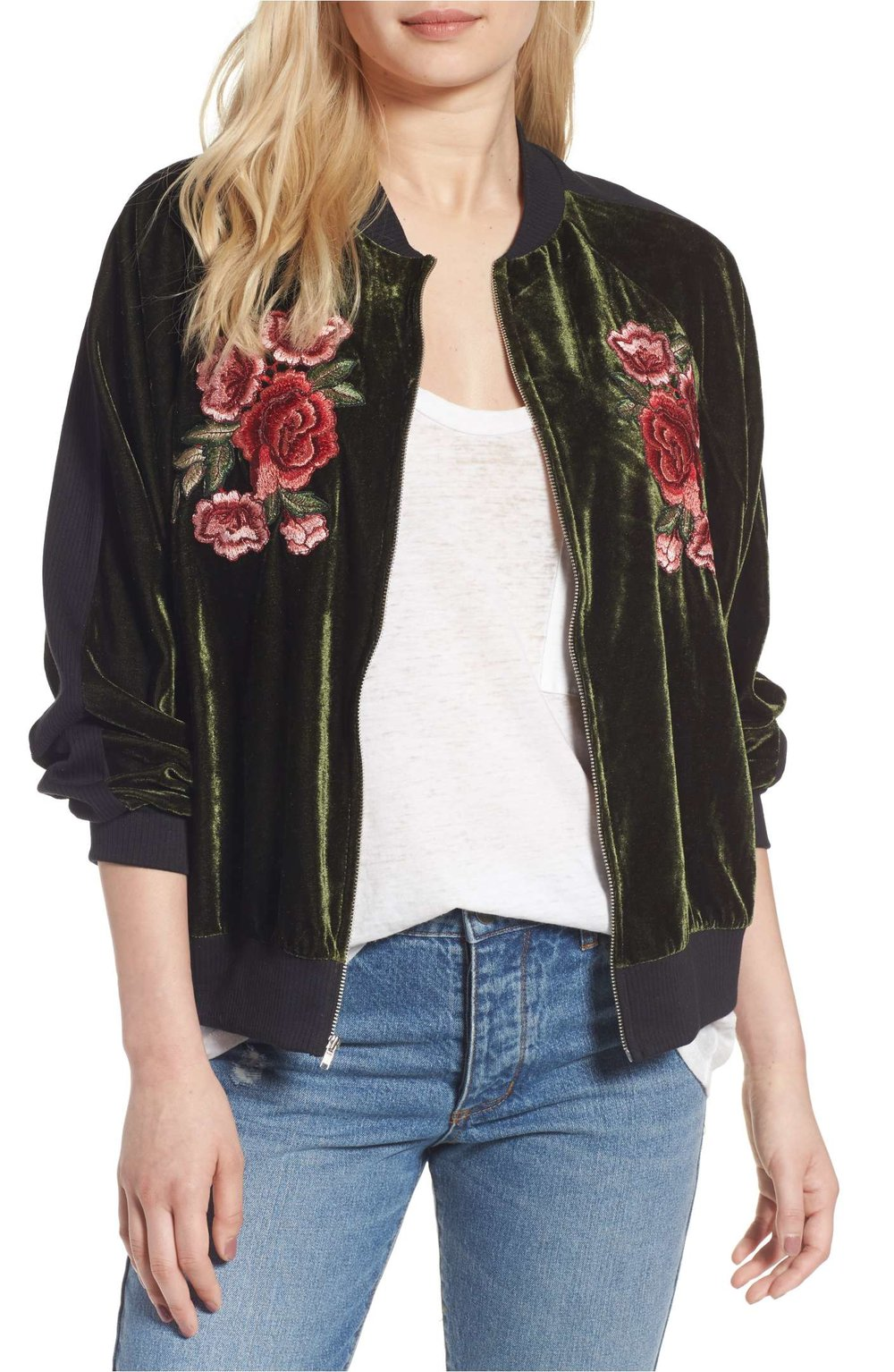 Sale: $38.90 - B.P Floral Embroidered Bomber