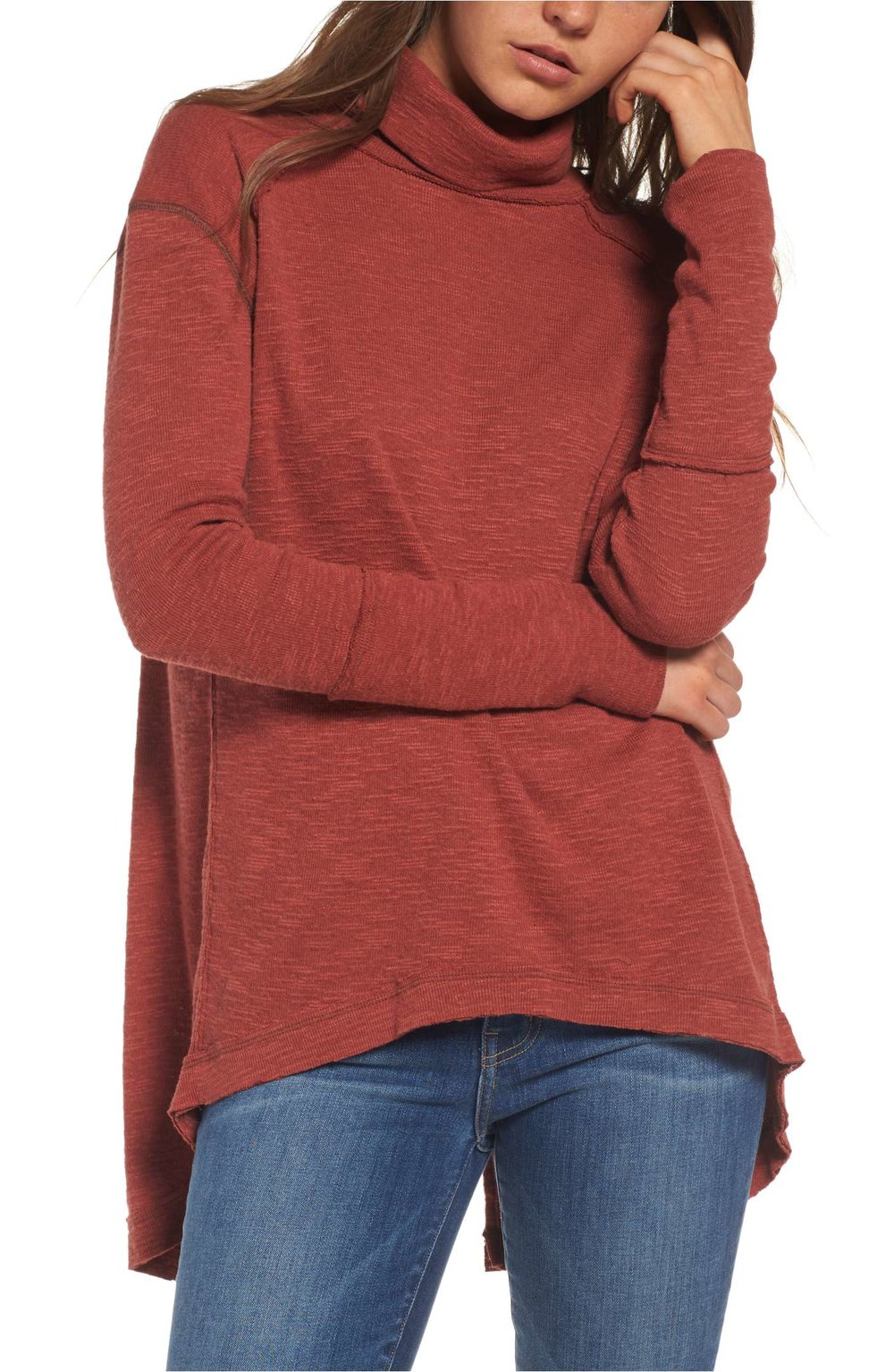 Sale: $44.90 - Free People Split Back Turtleneck in red