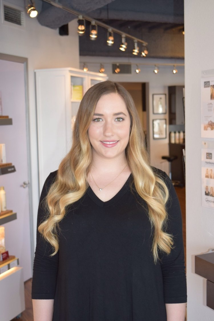 "Emily Bodenhoefer Master Hairstylist / Colorist • 4 years of experience • Trained at the Aveda Institute of Los Angeles, in depth color and cutting techniques • Specializing in Ombre hair color, Natural highlights and color, haircutting, and hair styling"" • Hair Extensions Certified."