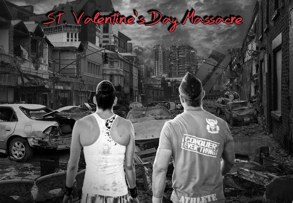 St. Valentine's Day Massacre    Conquest In House Competition (Davie Location) Saturday February 17th, 2018 Co-ed    (Rx and Scaled Divisions) Sign up with your coaches ASAP.    Email I nfo@CrossfitConquest.com  if a non-member would like to participate.