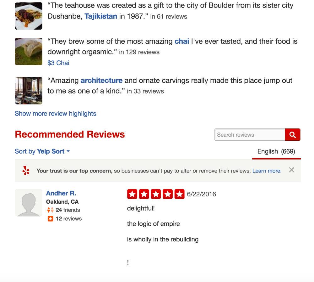boulder dushanbe teahouse, 5 stars