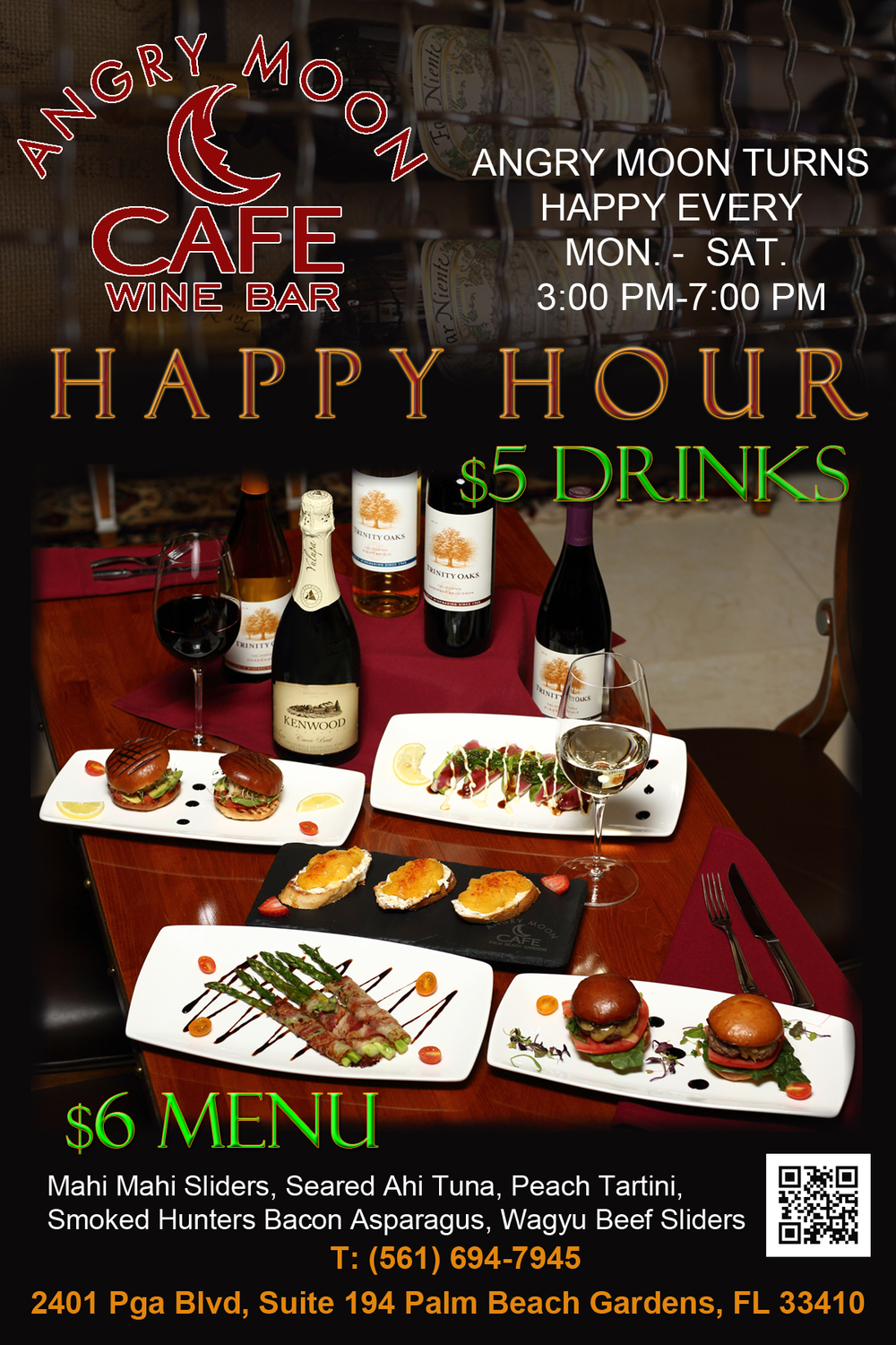 Angry Moon Cafe - Happy Hour - $5 Wine & $6 Menu