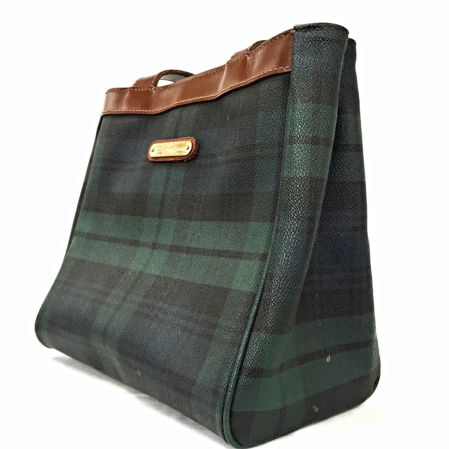 140ed4c64129 Vintage 1980 s POLO Ralph Lauren Blue and Green Plaid Tote Bag — Enamored  By Nicole