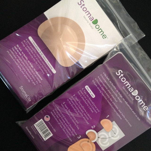 This is how our StomaDome stoma guard is packaged. It comes with 52 replacement Velcro crescents.