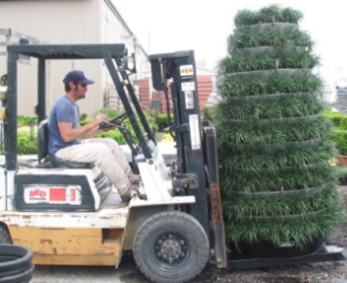 vertical garden tower on forklift