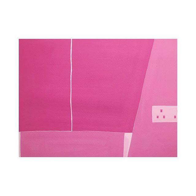 """The almost pink mansion lll "" 2016 Gouache on paper  320mm x 410mm #contemporaryart #mansion #pink #barbie #kobosin #hongkong"