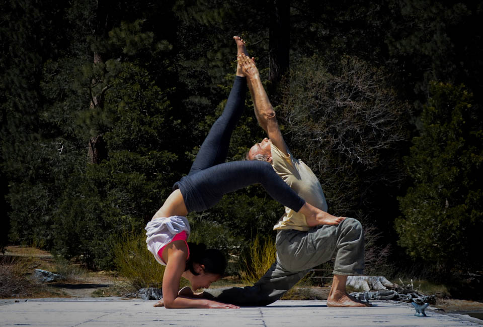 Partner Yoga with Doug Swenson.  Vrschikasana meets Anjaneyasana http://www.facebook.com/CamilliaLeeYoga