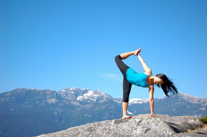 Post Hiking Yoga on Stawamus Chief in Squamish, BC - Ardha Chandra Chapasana