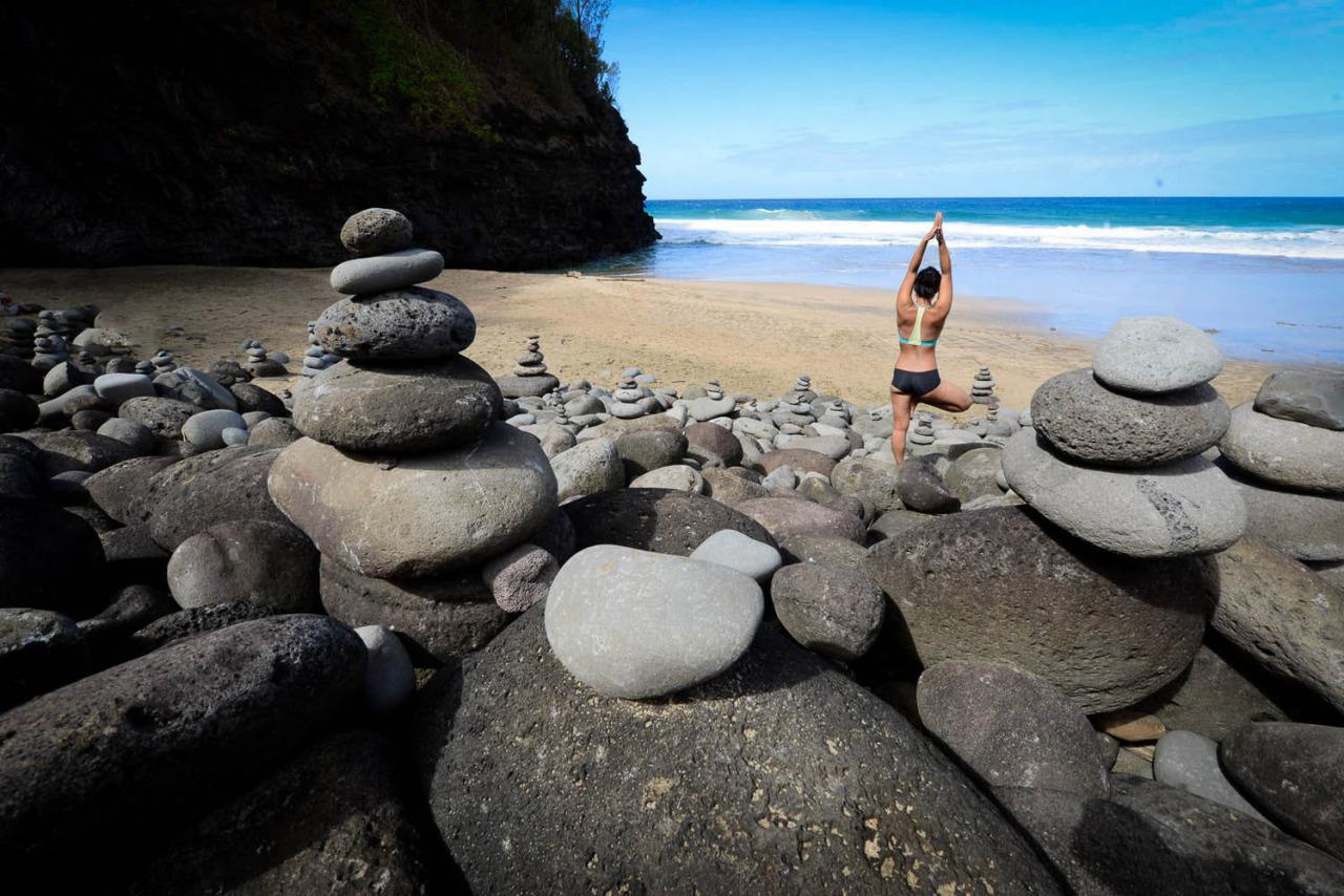 Hanakāpīʻai Beach along the Kalalau Trail - Kauai, Hawaii    http://www.facebook.com/CamilliaLeeYoga