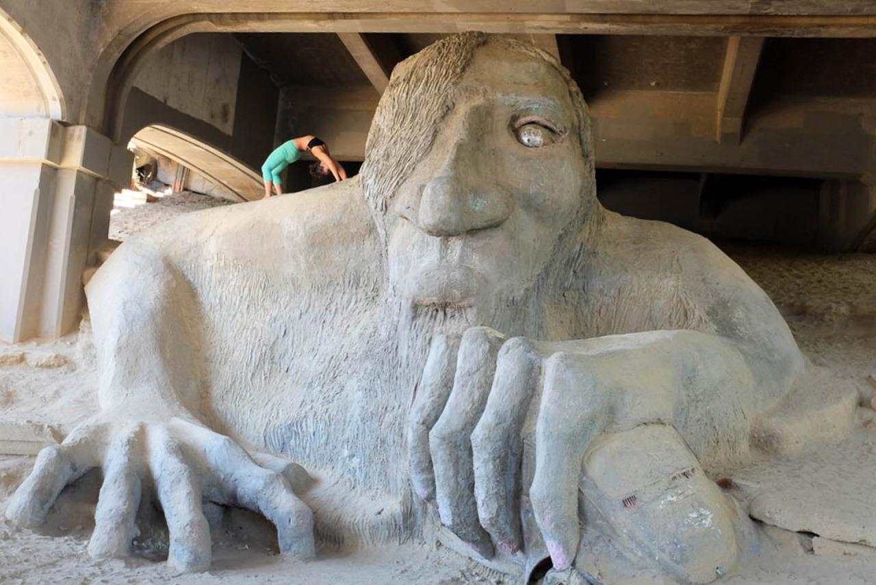 Fremont Troll find him at under theGeorge Washington Memorial Bridge (Aurora Bridge)