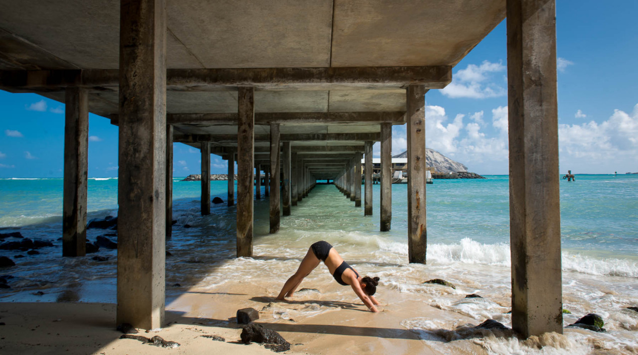 Adho Mukha Svanasana - Downward Facing Dog at Makai Research Pier - Oahu, Hawaii    http://www.facebook.com/CamilliaLeeYoga
