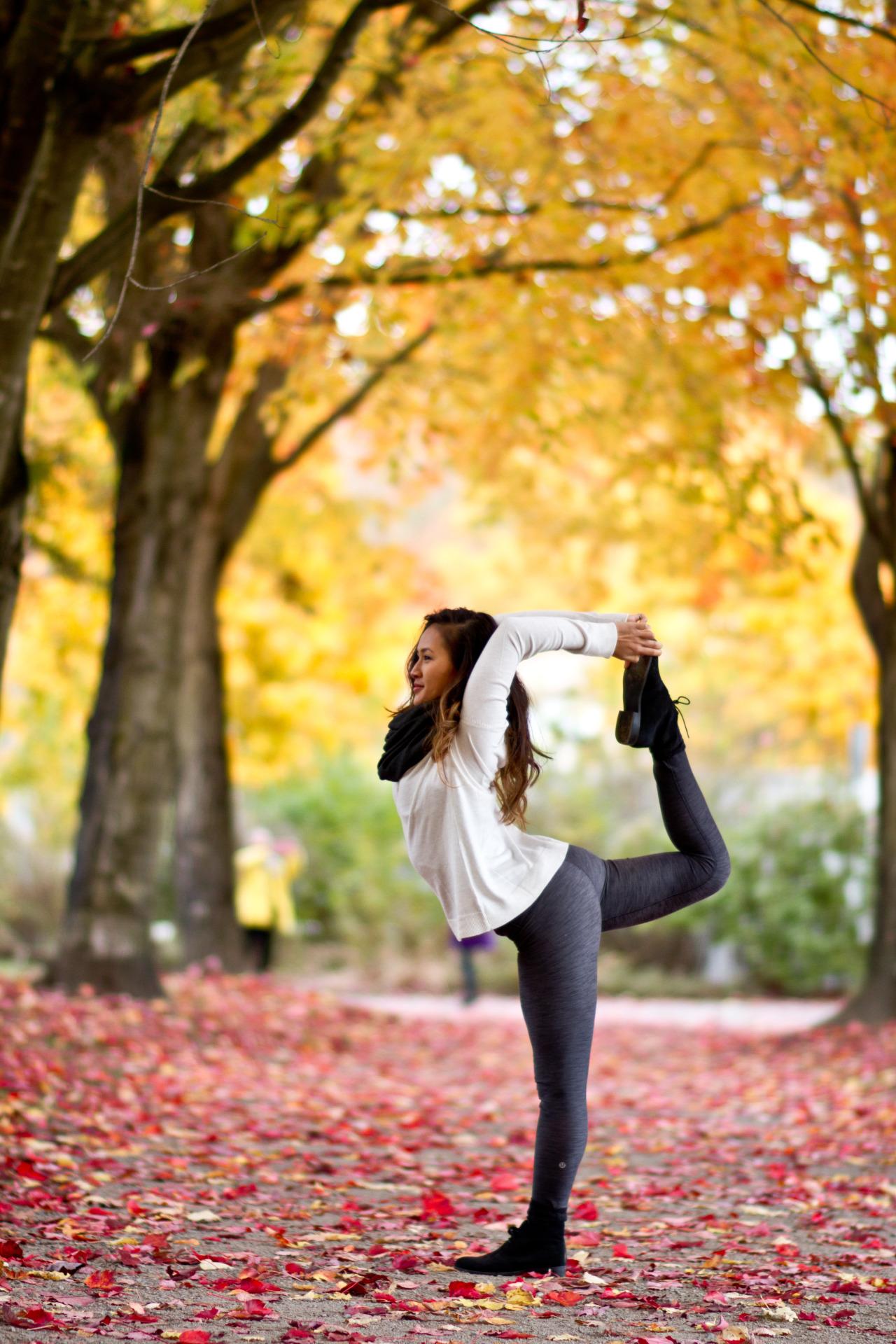 Breathtaking Fall Foliage  Natarajasana | Dancer's Pose Trout Lake | Vancouver | British Columbia | Canada    Facebook.com/CamLeeYoga