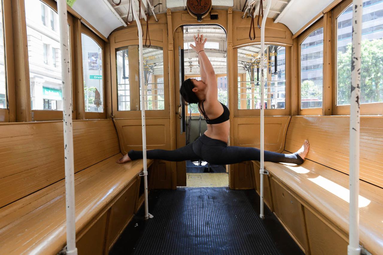 Cable Car Yoga   San Francisco, California   Hanumanasana - Monkey Pose