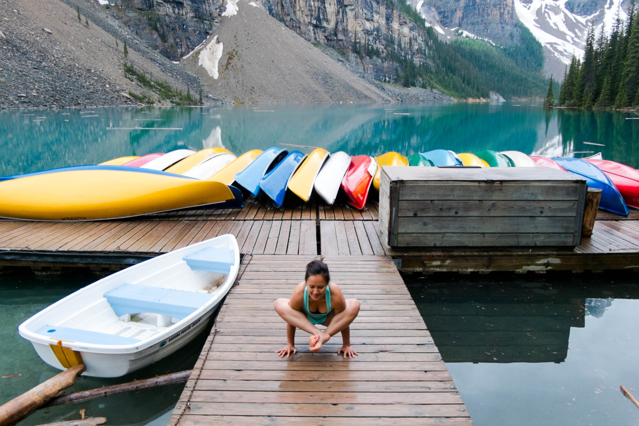 Bhujapidasana - Arm Pressure Pose       Moraine lake | Banff National Park | Alberta | Canada