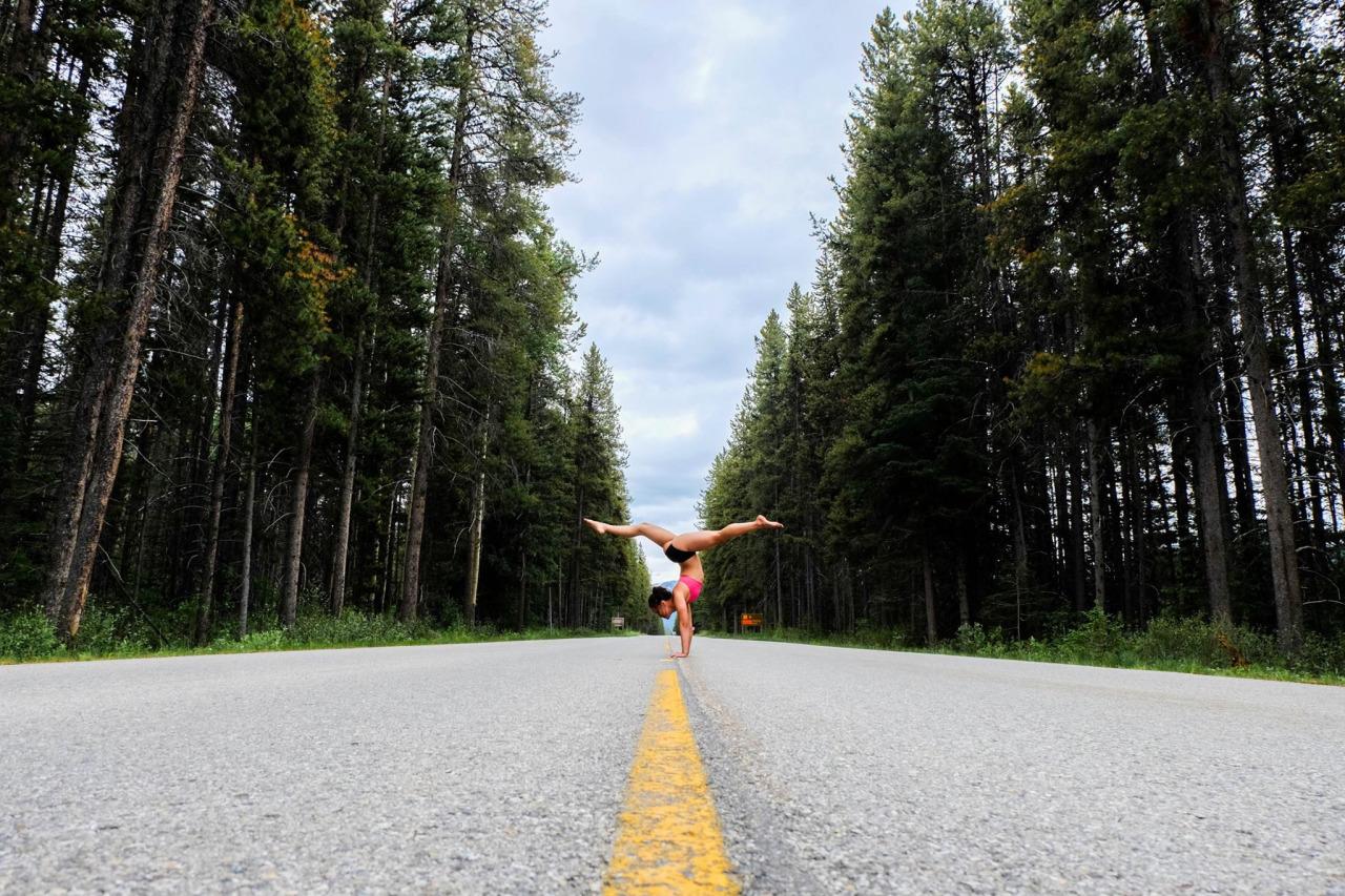 Adho Mukha Vrksasana - Handstand  Banff National Park | Alberta | Canada