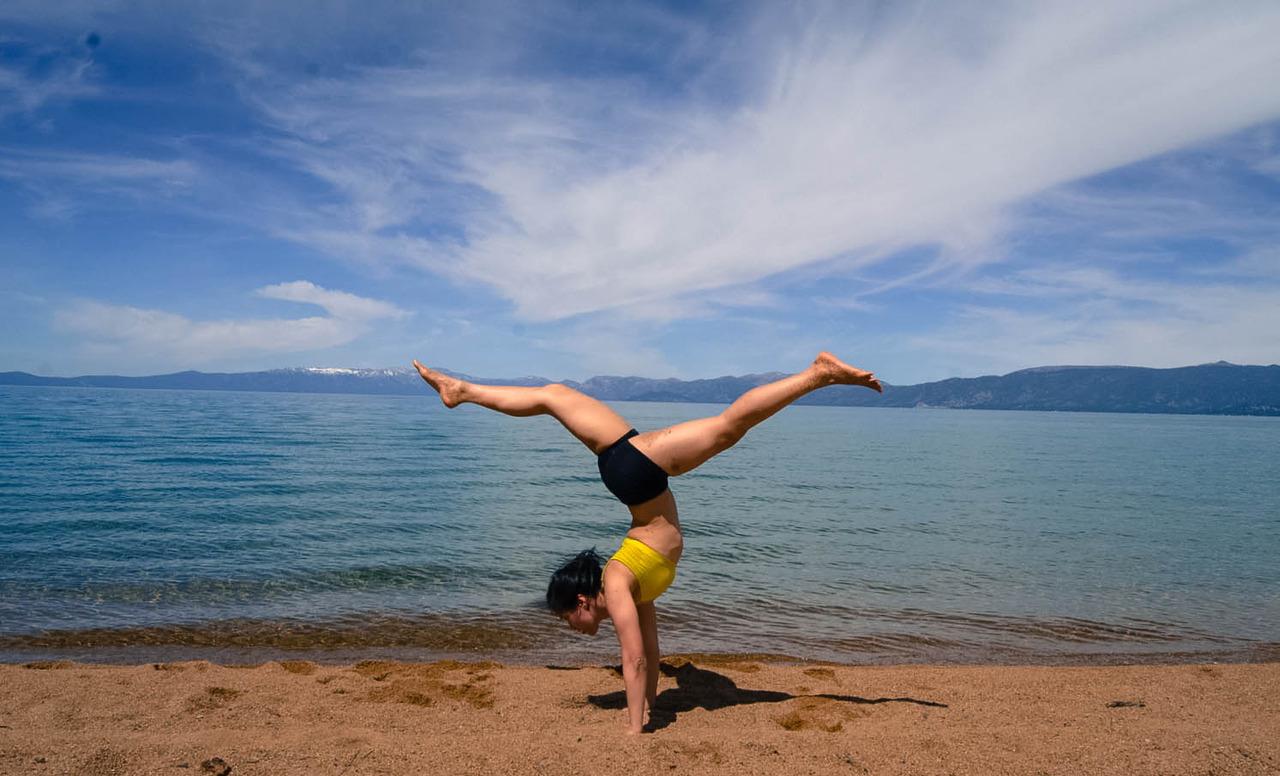 Adho Mukha Vrksasana at the Beautiful Lake Tahoe