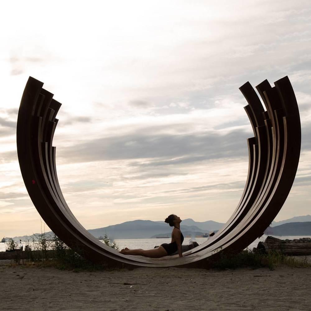 Vancouver Biennale 📷@jaylee.tv #yoga #vancouver #beach sunset #nature