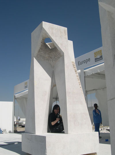 CONTINUUM II c, c 2007, Omani limestone, 9'h.x4'x4', Emaar Properties,  Dubai, UAE..jpg