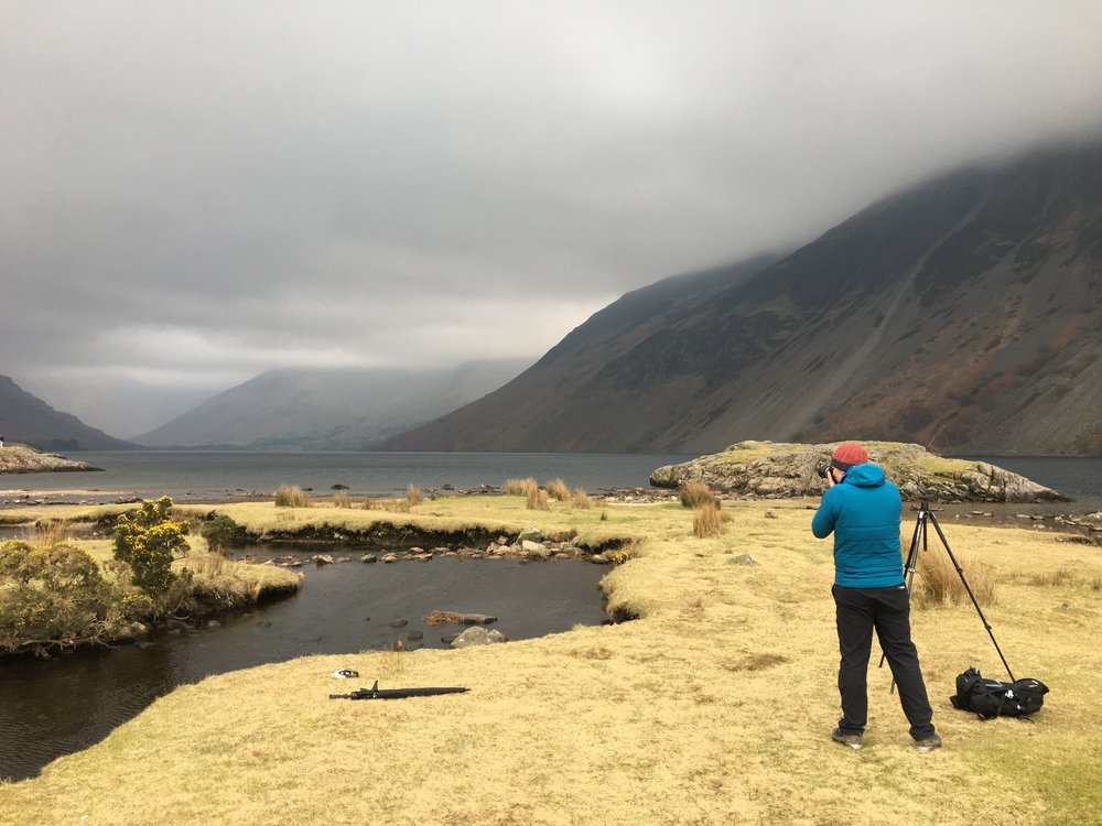 Steve assessing the scene in a 'strange' light as contrasts bathed Wast Water that day.
