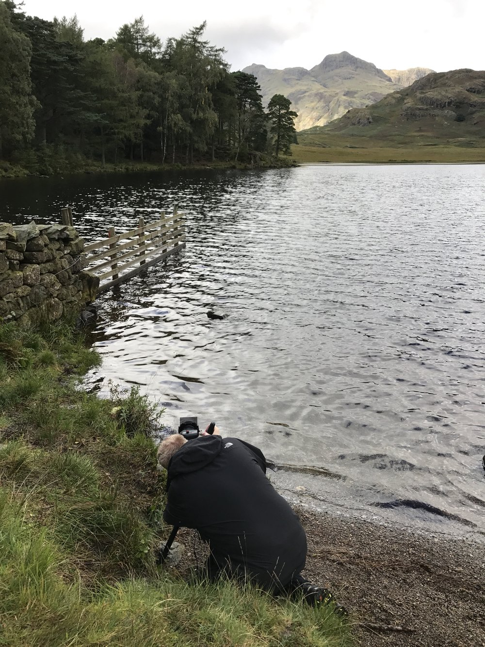 Chris getting down to it by 'that fence' by Blea tarn