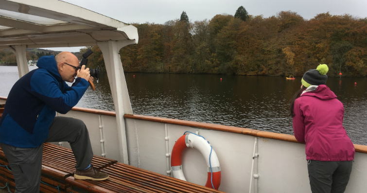 Shooting onboard one of the boats on Windermere