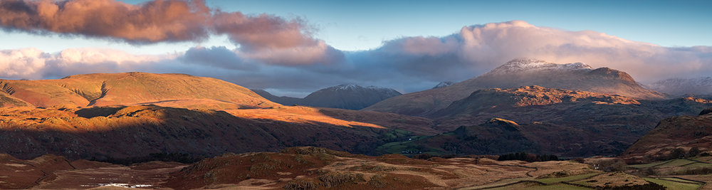 Looking across Birker Fell to one of the lakes iconic views at sunrise