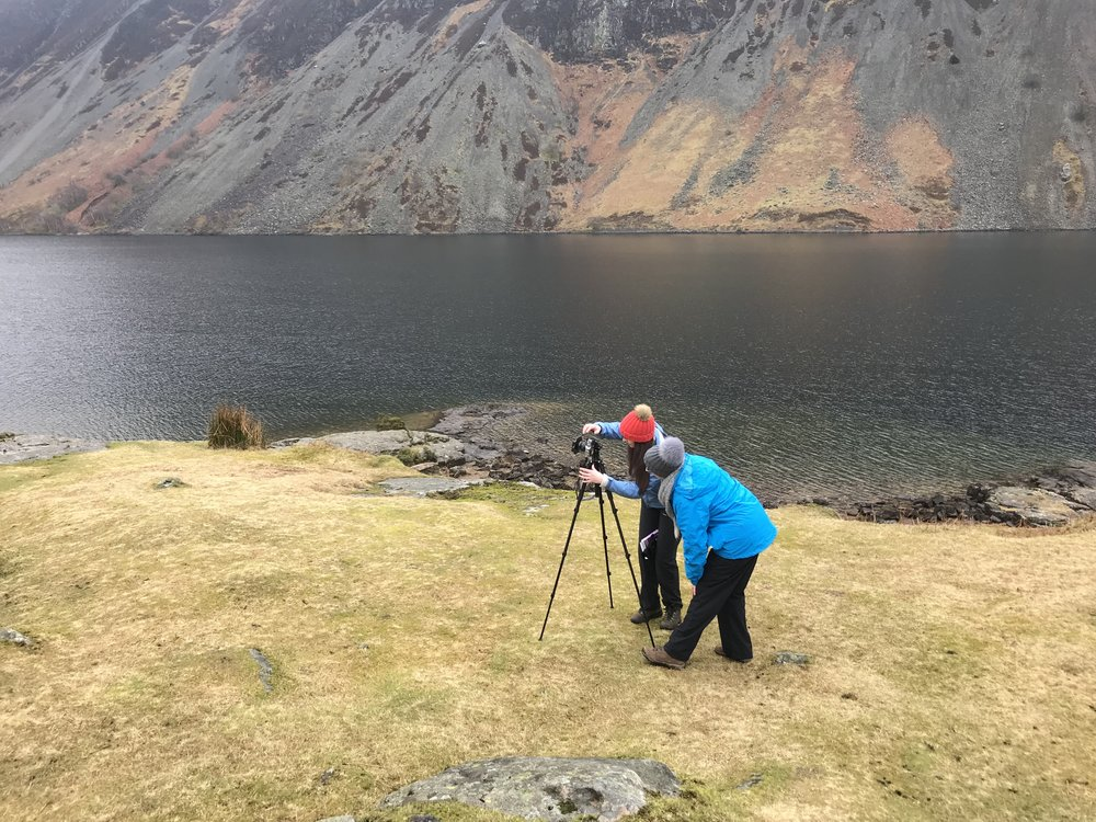 Vicki working with Teresa by Wast Water