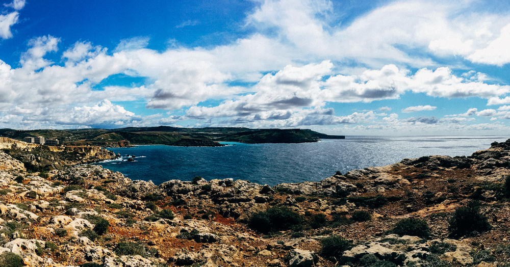 Pano shot of Golden Bay from Majjistral Park - iphone 6s