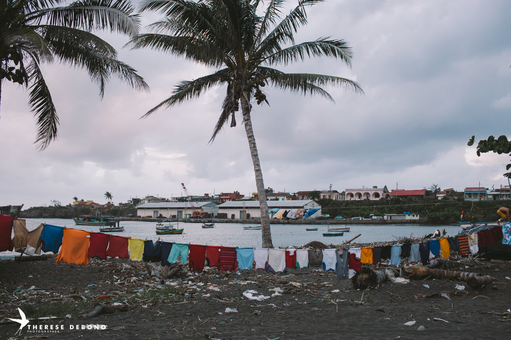 Laundry hanging on one of the beaches of Boracoa, which was hit by a hurricane in October 2016.