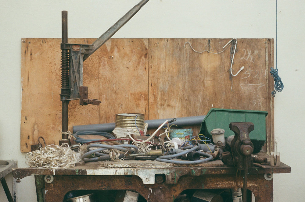 His working bench