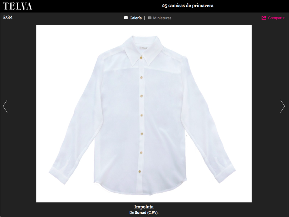 Our  Kalahari Stone White  picked by Telva as one of the shirts of the season.