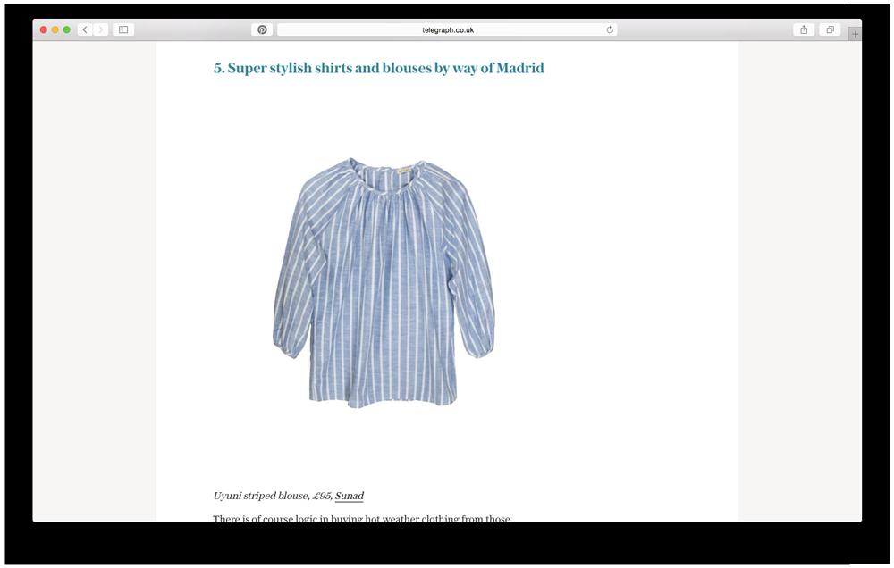 Telegraph Fashion seleccciona nuestra  Uyuni Striped  como prenda para el verano