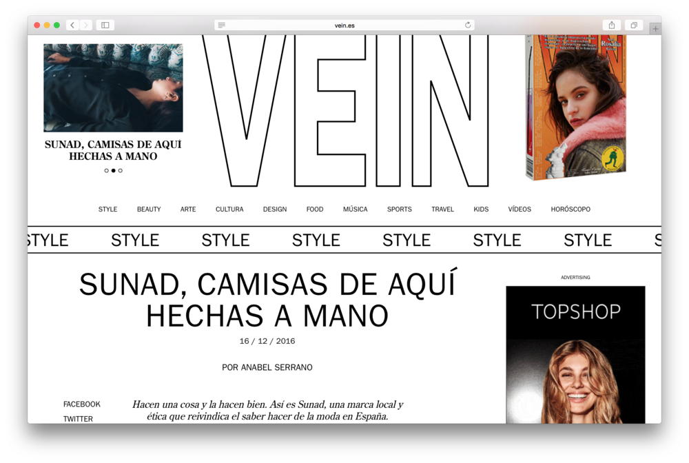 "Featured in   Vein Magazine   ""SUNAD, camisas de aquí hechas a mano"""