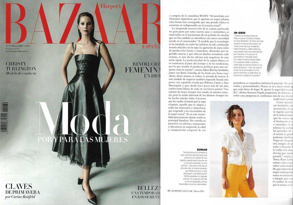 """En el artículo de Sara Hernando """"Perfección Revisada"""" en el número de marzo 2017 en Harper's Bazaar."""