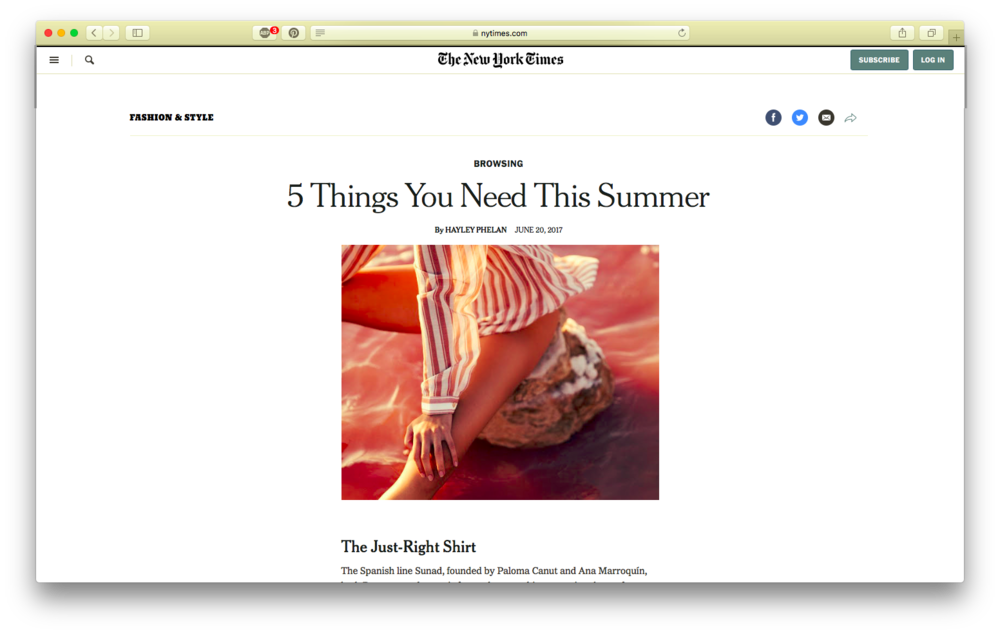 La camisa perfecta en  The New York Times shopping