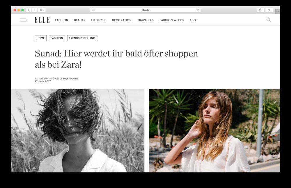 """Artículo en Elle Alemania -  """"Sunad: ¡Pronto comprarás más aquí que en Zara!"""""""