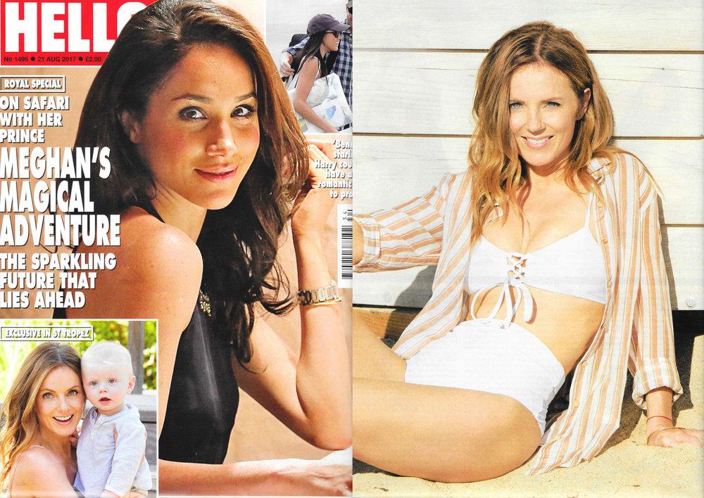 Geri Halliwell en la revista inglesa Hello! en la imagen con nuestra camisa Gobi Burgundy