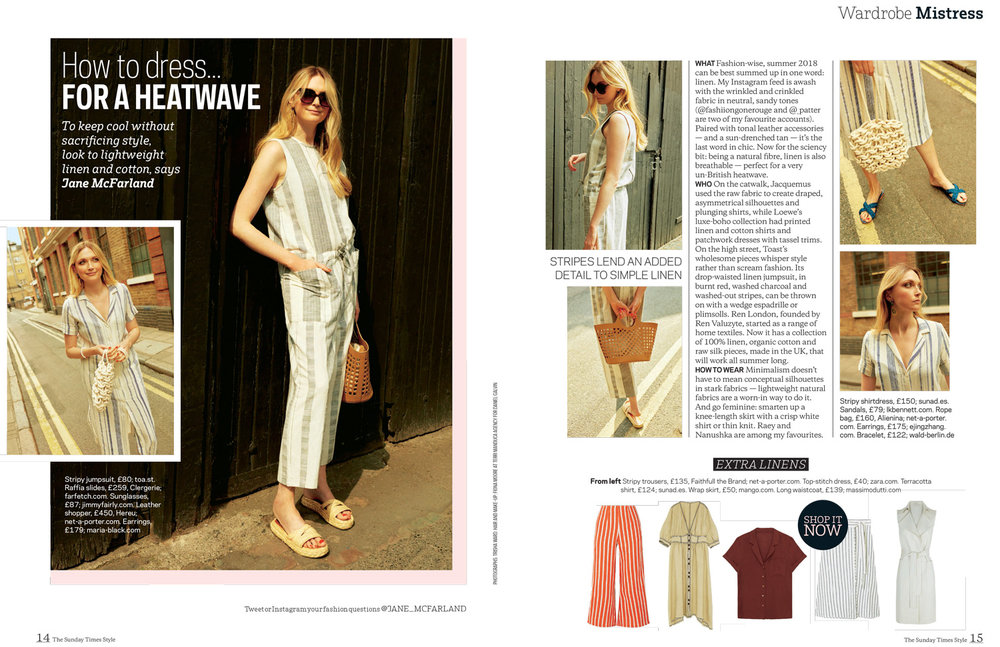 SS19 Thar waves and Basin Terracotta featured in Sunday Times Style