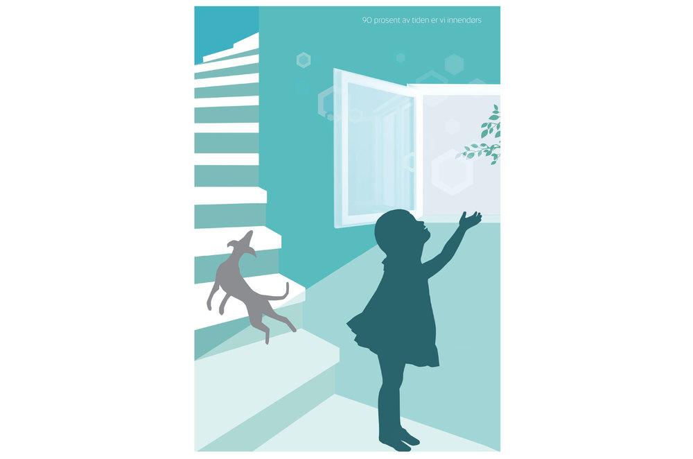 Illustrasjon barn ved vindu