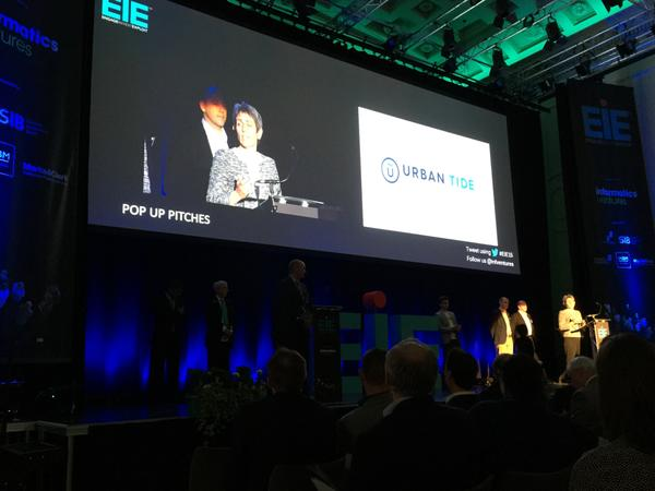 Pippa Gardner, CEO of UrbanTide delivering 1-minute pitch at EiE 2015.